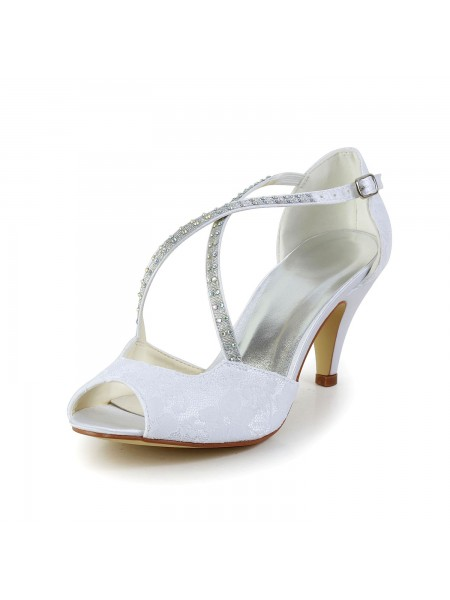 Women's Satin Cône talon Peep Toe Sandals White Chaussures de mariage With Faux diamants Buckle