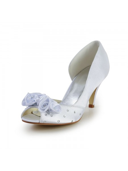 Women's Satin Cône talon Peep Toe White Chaussures de mariage With Flower Faux diamants