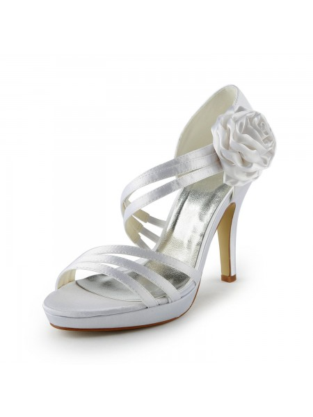 Women's Satin Stiletto Heel Plate-forme Sandals White Chaussures de mariage With Flower