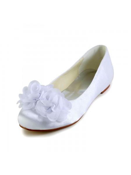 Women's Satin Flat Heel Toe Fermé Flats White Chaussures de mariage With Satin Flower