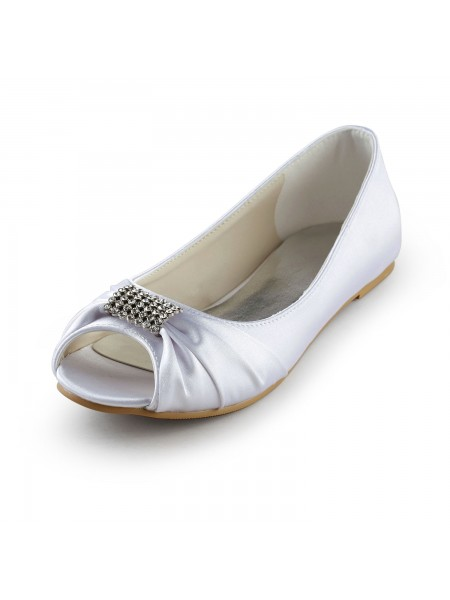 Women's Satin Flat Heel Peep Toe Sandals White Chaussures de mariage With Faux diamants