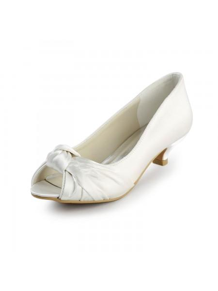 Women's Satin Kitten Heel Peep Toe Sandals White Chaussures de mariage With Boucles