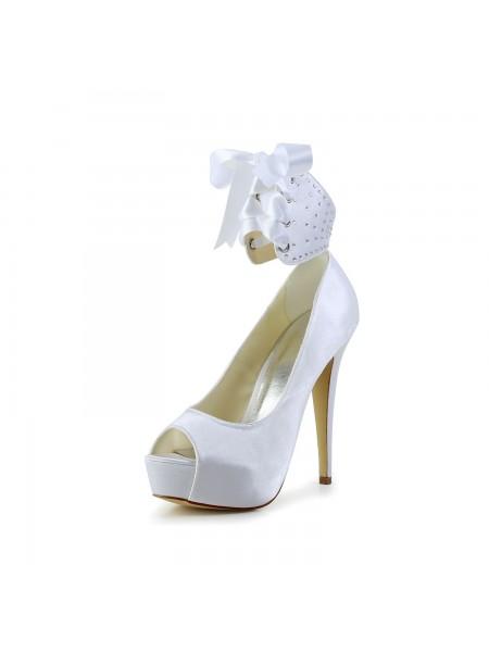 Women's Satin Peep Toe Stiletto Heel With Boucles White Chaussures de mariage