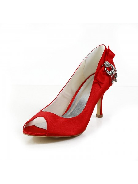 Women's Satin Peep Toe Spool Heel With Boucles Red Chaussures de mariage