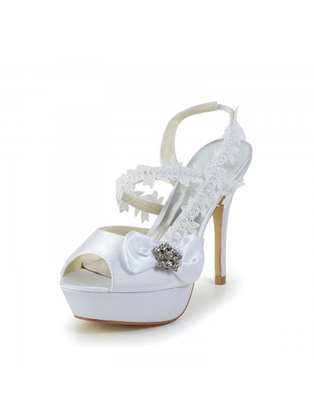 Women's Satin Peep Toe Stiletto Heel White Shoes With Wedding Boucles