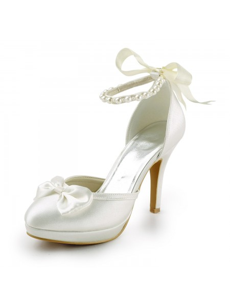 Women's Satin Stiletto Heel Toe Fermé Plate-forme Pumps White Chaussures de mariage With Boucles