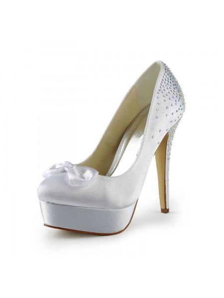 Women's Satin Stiletto Heel Toe Fermé Plate-forme White Chaussures de mariage With Boucles