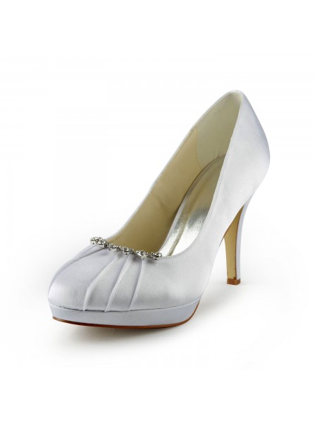 Women's Satin Stiletto Heel Toe Fermé Plate-forme White Chaussures de mariage With Faux diamants