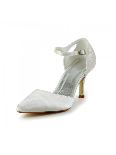 Women's Satin Stiletto Heel Toe Fermé Pumps White Chaussures de mariage