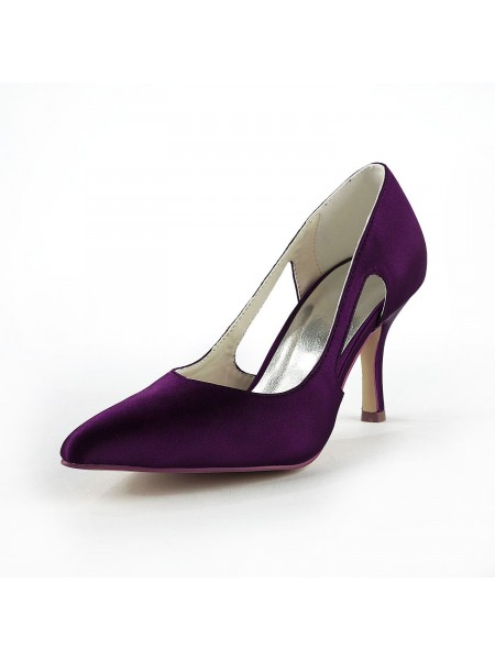 Women's Satin Stiletto Heel Toe Fermé Pumps Grape Chaussures de mariage