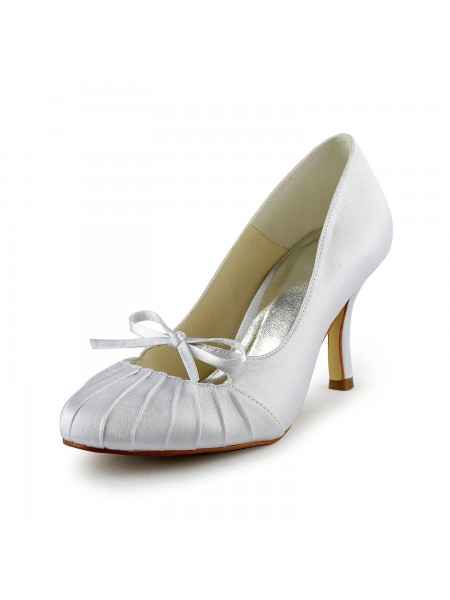 Women's Satin Stiletto Heel Toe Fermé Pumps White Chaussures de mariage With Boucles Ruched
