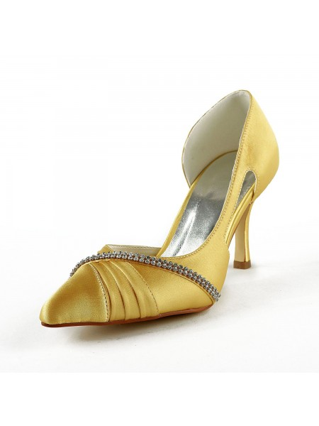 Women's Satin Stiletto Heel Toe Fermé Pumps Gold Chaussures de mariage With Faux diamants