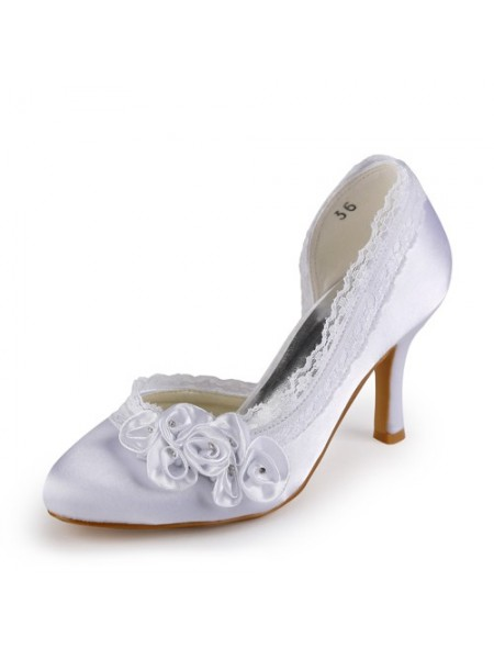 Women's Satin Stiletto Heel Toe Fermé White Chaussures de mariage With Faux diamants