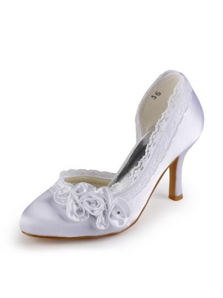 Women's Satin Stiletto Heel Toe Fermé White Chaussures de mariage With Faux diamants