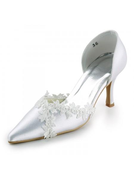 Women's Satin Stiletto Heel Toe Fermé Pumps White Chaussures de mariage With Dentelle