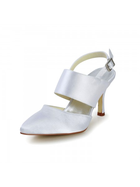 Women's Satin Stiletto Heel Toe Fermé With Buckle White Chaussures de mariage