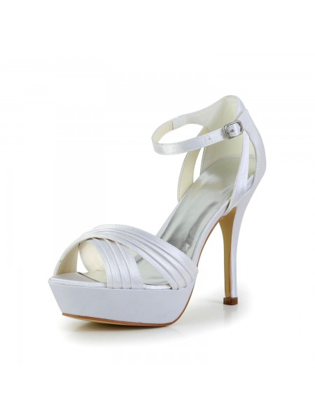 Women's Satin Stiletto Heel Peep Toe Plate-forme Sandals White Chaussures de mariage With Buckle