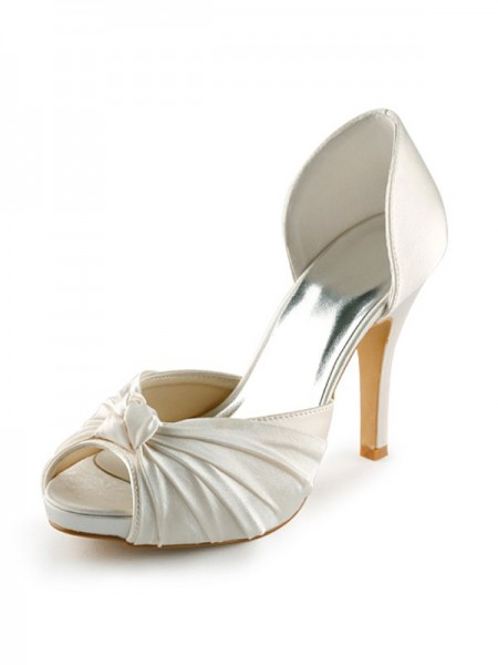 Women's Satin Stiletto Heel Peep Toe Plate-forme Pumps White Chaussures de mariage With Boucles