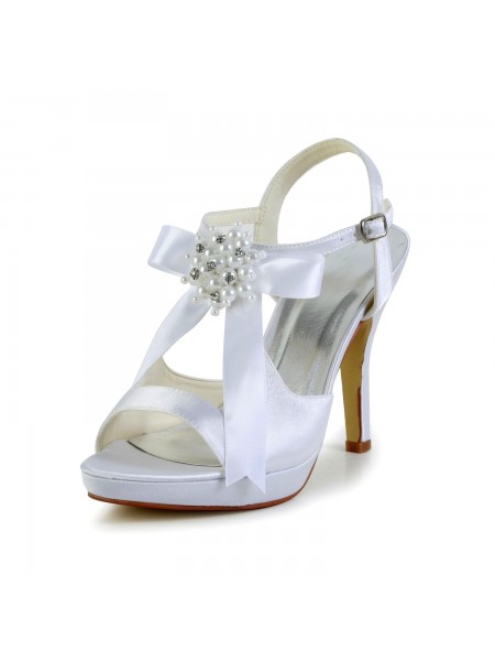 Women's Satin Stiletto Heel Peep Toe Plate-forme Sandals White Chaussures de mariage With Boucles