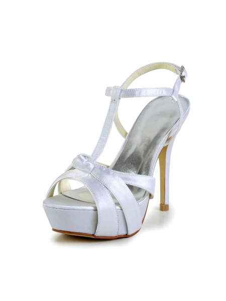 Women's Satin Stiletto Heel Peep Toe Slingbacks Sandal White Chaussures de mariage With Buckle