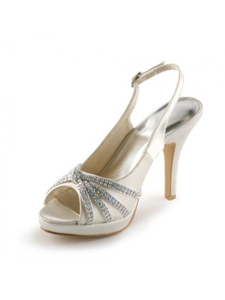 Women's Satin Stiletto Heel Peep Toe Plate-forme With Faux diamants Champagne Chaussures de mariage
