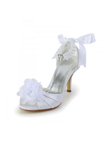 Women's Satin Stiletto Heel Peep Toe Chaussures de danse With Imitation Pearl
