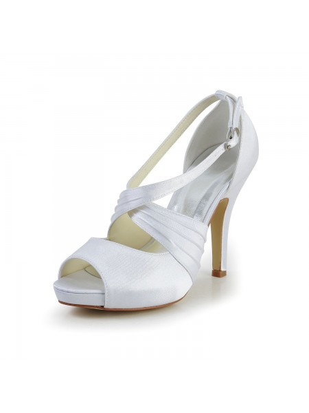 Women's Satin Stiletto Heel Peep Toe With Buckle White Chaussures de mariage