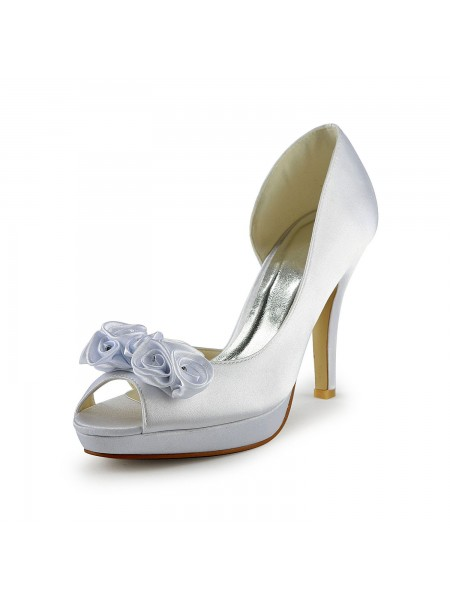Women's Satin Stiletto Heel Peep Toe With Flower White Chaussures de mariage