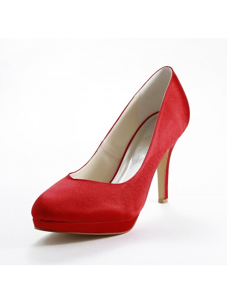 Women's Satin Stiletto Heel Pumps Red Chaussures de mariage