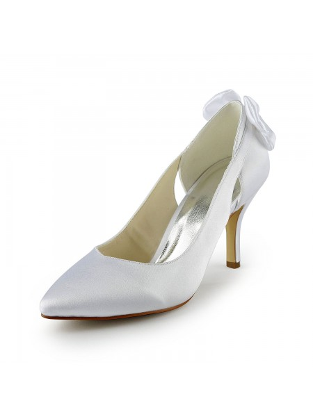 Women's Satin Stiletto Heel Pumps With Hollow-out White Chaussures de mariage