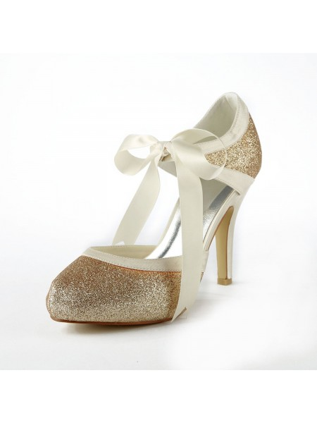 Women's Satin Stiletto Heel Pumps With Sparkling Glitter White Chaussures de mariage