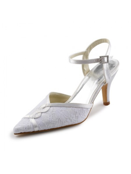 Women's Satin Stiletto Sandals With Stitching Dentelle White Chaussures de mariage