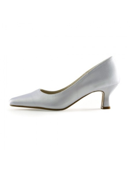 Women's Satin Upper talon Chunky Pointed Toe White Chaussures de mariage