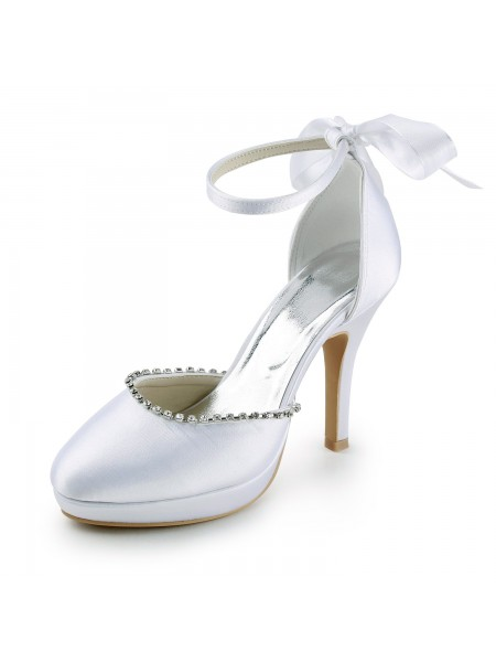 Women's Satin Stiletto Heel Toe Fermé with Faux diamantss White Chaussures de mariage