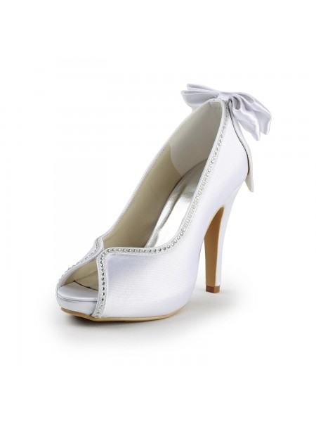 Women's Satin Stiletto Heel Peep Toe With Boucles White Chaussures de mariage