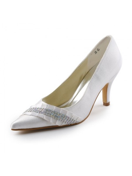 Women's Satin Stiletto Heel Pointed toe With Faux diamants White Chaussures de mariage