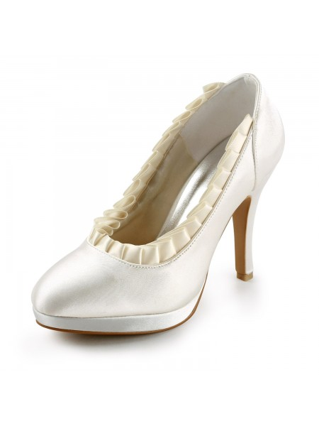 Women's Satin Upper Stiletto Heel Pumps With Ruffles Ivory Chaussures de mariage
