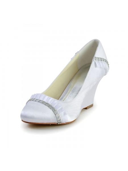 Women's Satin Talon compensé Wedges Toe Fermé White Chaussures de mariage