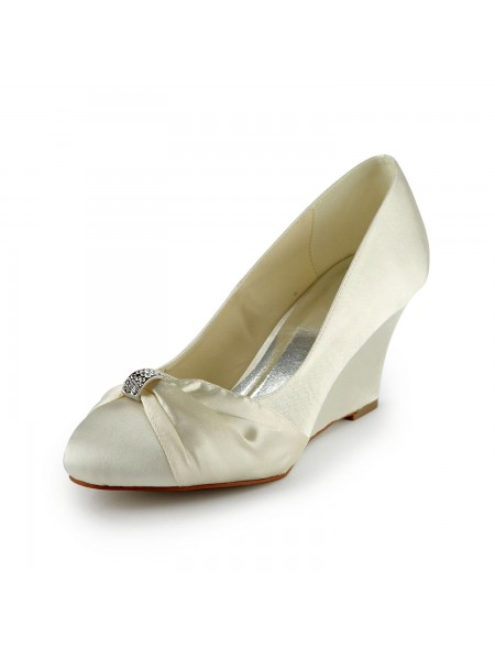 Women's Satin Talon compensé Wedges With Faux diamants Ivory Chaussures de mariage