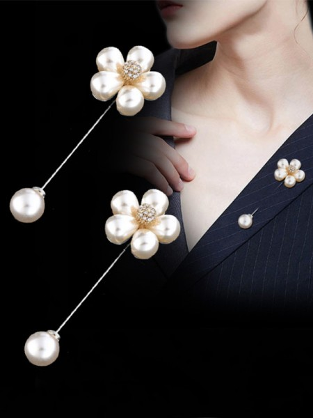 Ancien Alliage With Imitation Pearl Ladies' Broche