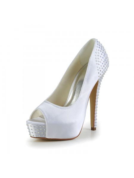 Women's Satin Stiletto Heel Peep Toe Plate-forme White Chaussures de mariage With Faux diamants