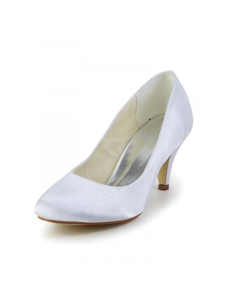 Women's Simples Satin Cône talon Toe Fermé White Chaussures de mariage