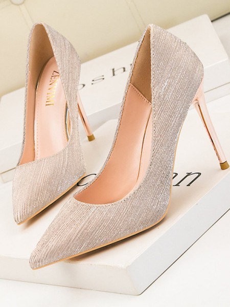 Aux Femmes Leatherette Stiletto Heel Closed Toe Talons hauts