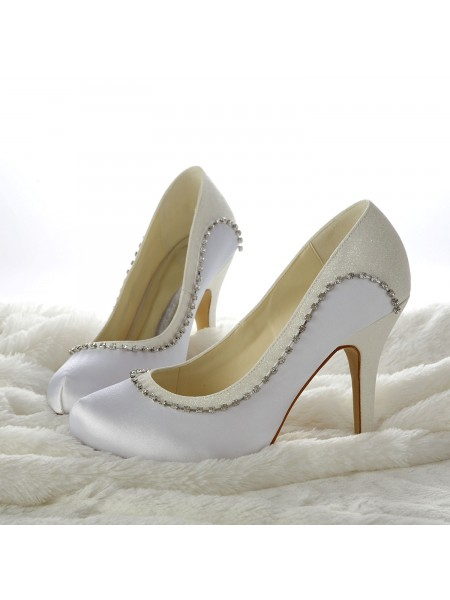Women's Stiletto Heels Closed-toe Beading White Chaussures de mariage