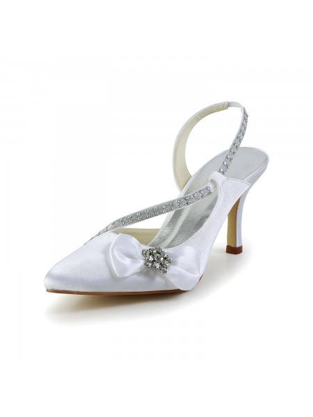 Women's Satin Toe Fermé Spool Heel With Faux diamants Boucles White Chaussures de mariage