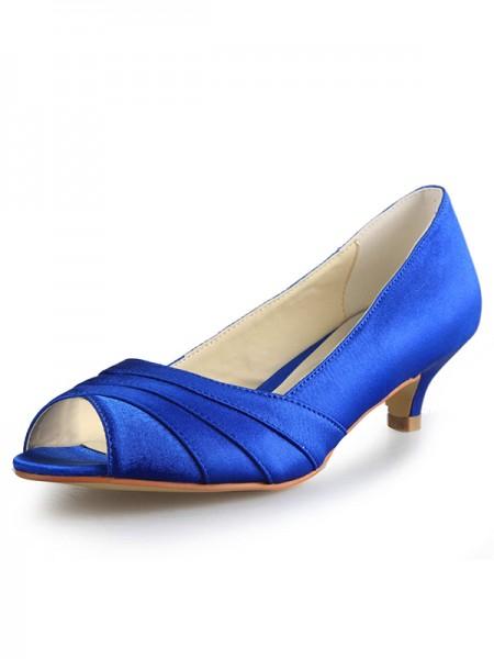 Women's Low Heel Peep Toe Satin Talons hauts