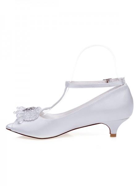 Women's Satin Peep Toe Cône talon Pearls Chaussures de mariage
