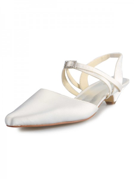 Women's Satin Kitten Heel Toe Fermé With Buckle White Chaussures de mariage