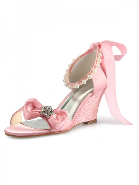 Women's Satin Talon compensé Peep Toe With Faux diamants Pearl Boucles Pink Chaussures de mariage