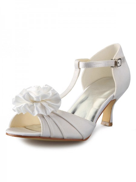 Women's Satin Stiletto Heel T-Strap Peep Toe With Flower Chaussures de danse